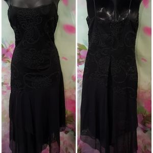 Bari Jay Black Chiffon Cocktail Dress Size 7/8